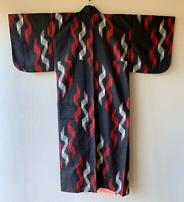 Vintage Japanese Kimono Meisen Silk black abstract black red white
