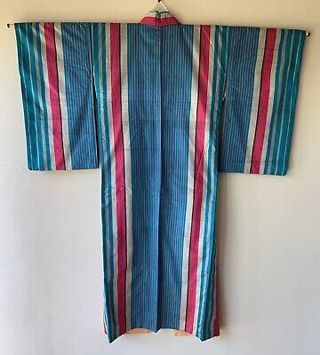 Vintage Japanese Kimono Meisen Silk stripe marine blue grey red
