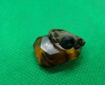 Ancient  Bronze Ring with stone Original