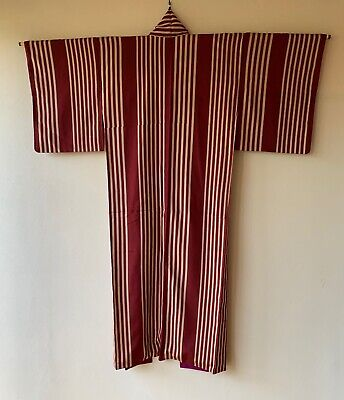 Vintage Japanese Kimono Omeshi silk stripe dark red white