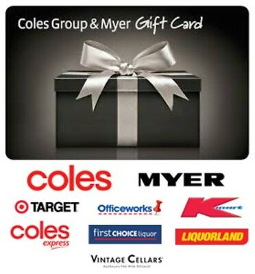 $100 Coles Myer Physical Gift Card