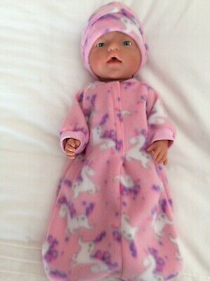 """Doll clothes - Sleeping Bag & Hat To Fit 17"""" Baby Born Doll ~ Pink /unicorns"""