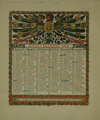 Calendar for 1916. One Sheet Printed on both Sides (January to June Or