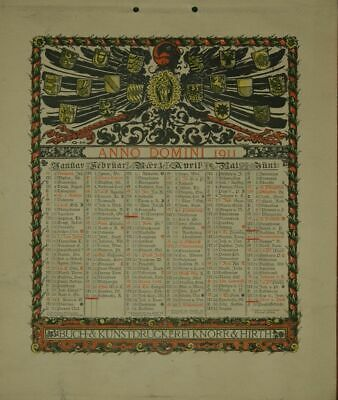 Calendar for 1911. One Sheet Printed on both Sides (January to June Or