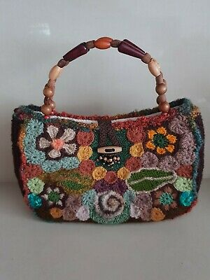 Fabulous Vintage Boho Knitted Handbag Wooden Handle Mohair