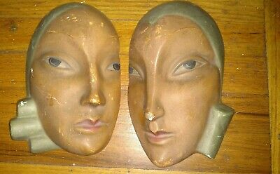 Antique Pair of Art Deco woman face chalkware wall mask Roman art co Robia ware