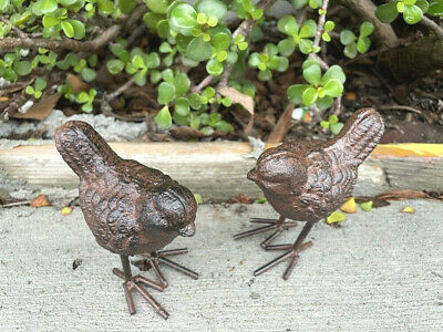 A Pair of Cast Iron Little Birds Garden Ornaments Rustic Brown