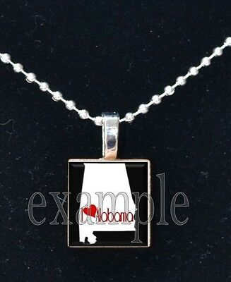 ANY USA STATE Black & White c/ Red Heart Scrabble Necklace Charm OR Key-chain