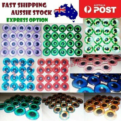 8pcs 12mm Pink Blue Red Grey Green Yellow Glass Doll Eyes Toys DIY Craft Toy