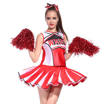 Ladies Glee Cheerleader School Girl Fancy Dress Uniform Costume +Pom Poms In Red