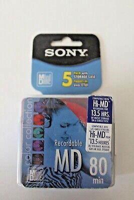 Sony Mini Disc..Recordable, 5 DiscPack w/Storage Cases - MD 80 min (NEW SEALED)