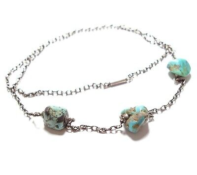 Beautiful Antique Victorian Or Edwardian Silver & Turquoise Necklace