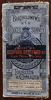 Vintage, Bartholomew's, Reduced Survey Map, for Tourists & Cyclists, Bedford