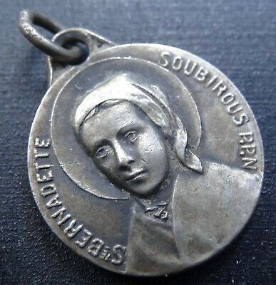 vintage SILVER French ST BERNADETTE Catholic double sided fob pendant -H57