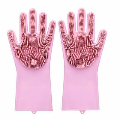 Magic Dish Washing Gloves Silicone Rubber Scrubber Cleaning Glovers Dishwashing
