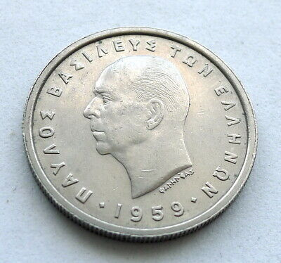 Greece 2 Drachma 1959, Paul I, High Grade Lustre Toned, Owl. Km//82