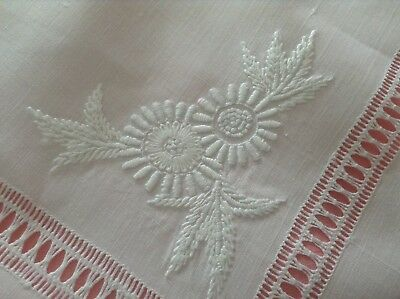 Vintage Snowy White Irish Linen Table Cloth Hand Embroidery Drawn Thread