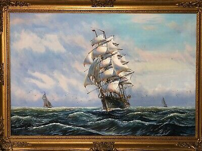 English School Oil Painting Scottish Ship Sound Of Jura After George Chambers