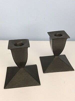 Arts and Crafts Pair Planished Pewter Candlesticks