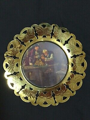 Vintage England Solid Brass Round Butterfly Wall Frame Picture Clock Repair