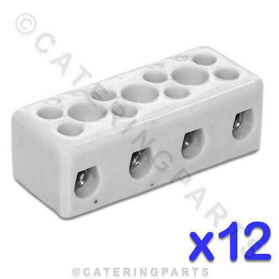 12x CERAMIC HIGH TEMPERATURE ELECTRICAL CONNECTOR BLOCKS 4 POLE 4mm 32A