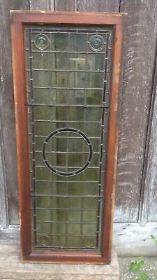 Architectural Antique Victorian Arts & Crafts Bullseye Leaded Glass Window Frame