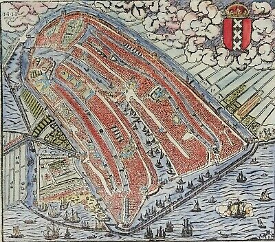 Netherlands, Amsterdam, map by S. Münster, 1562, Amsterdam
