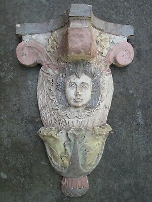 ANTIQUE CARVED WOOD CHERUB ANGEL Wall Sconce Shelf Vintage Shabby Chic Painted