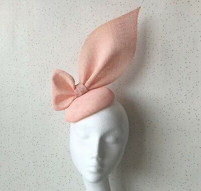Pale Pink Oversized Bow Headpiece Pink Wedding Fascinator Nude Pink Ascot Hat