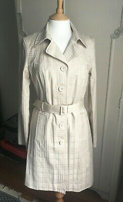 Beige Cream Trench Coat Mac Next 10 Belt  Lined Jacket Cream Check Lightweight