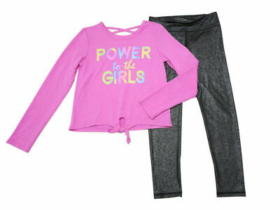 Active Life Girls Size 14/16 Long Sleeve Top/Glitter Legging, Power To The Girls