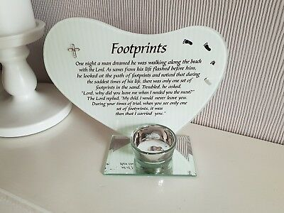 Baby Footprints Grave Ornament Memorial  Tribute Plaque With Tealight Holder
