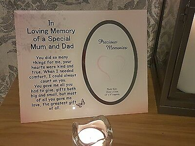 Mum and Dad Grave Ornament Memorial Remembrance Tribute Photo Frame Mum & Dad