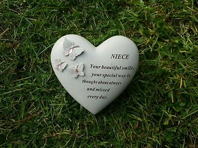 Niece Grave Ornament Memorial Plaque Remembrance Tribute Heart With Gems Niece