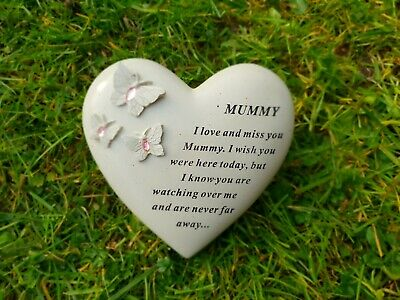 Mummy Grave Ornament Memorial Plaque Remembrance Tribute Heart With Gems Mummy