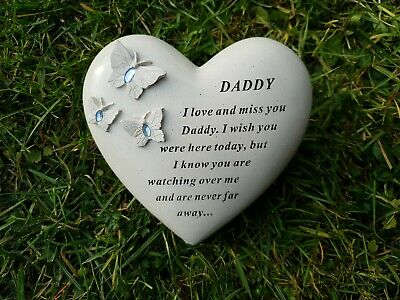 Daddy Grave Ornament Memorial Tribute Remembrance Tribute Heart With Gems Daddy