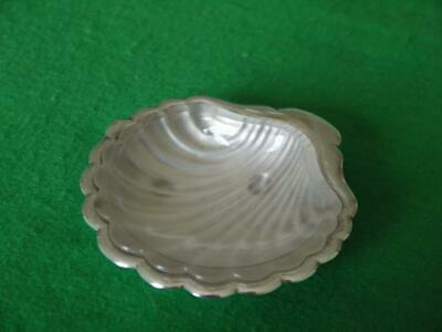 SILVER PLATED Vintage Scallop Shell Caviar/BUTTER/PIN Dish with glass liner