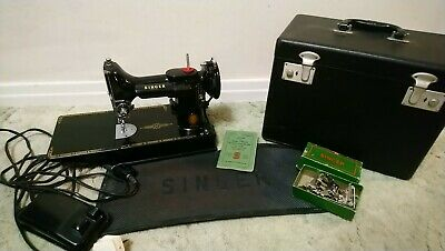 Singer Featherweight 221K Sewing Machine with Case and Extras