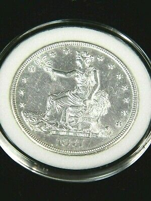 1877-S Trade Dollar AU-BU Blast White Great Luster in Airtight Cap #PA242