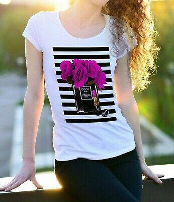 T-Shirt T Shirt Donna  Moda  Fashion Chanel Noir Coco With Flowers