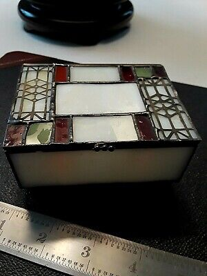 "VINTAGE HANDMADE ART GLASS BOX  4 "" wide X 3"" DEEP X 2"" HIGH"