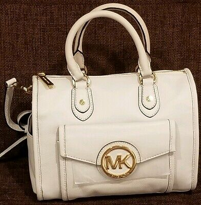 5ca4f26ec0afb5 Michael Kors Margo Vanilla Cream Leather Top Zip Satchel Crossbody Bag ❤Nwt❤
