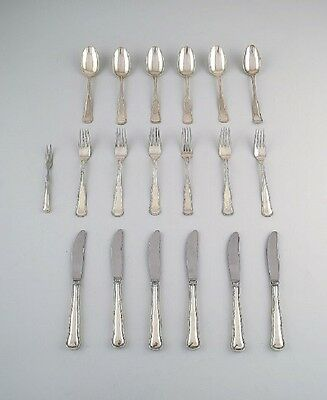 Cohr Old Danish silver cutlery for 6 p. A total of 19 p.