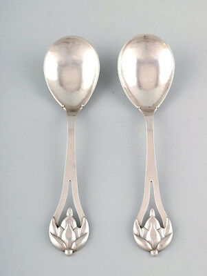 J. Holm. Denmark. A pair of serving spoons in silver (830). 1917.