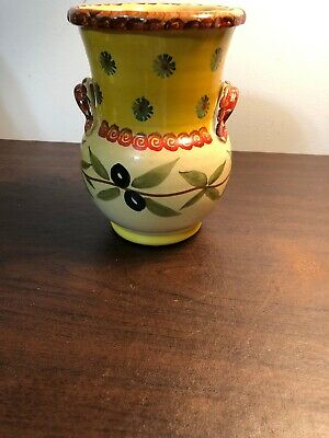 """Italica ARS Hand Painted """"Italy"""" Vase 7"""" Tall TRIMMED WITH OLIVE BRANCHES"""