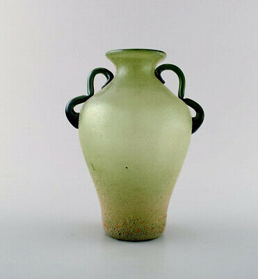 Murano vase with handles in light green mouth blown art glass, 1960's.