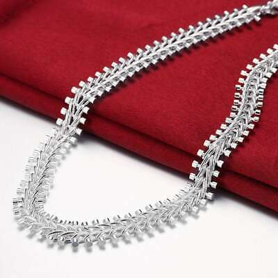 Fashion 925Sterling Solid Silver Jewelry Fish Bone Necklace For Men Women N166