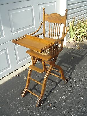 """Antique Qsawn Oak Childs High Chair/Collapsible Walker """"FREE"""" Grayhound Shipping"""