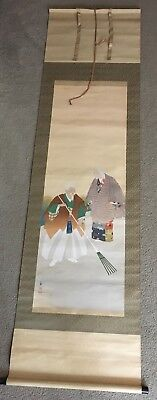 Antique Signed Japanese Hand Painted Scroll Painting Art Wall Hanging In Box