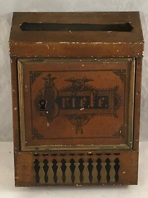 Antique Tin Litho Metal Toy Mailbox Briefe Letter Key Lock Box German Bank